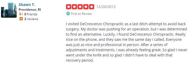 Chiropractic Providence RI Patient Testimonial at DeCrescenzo Chiropractic